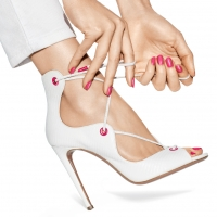 White Lace Up Stilettos